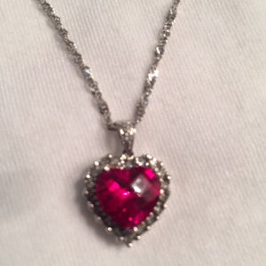 Jewelry - JULY BIRTHSTONE 14K White Gold Ruby Heart Necklace